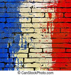 mur, francais, fond, brique