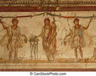 mur, fresque, à, pompéi, italie