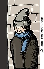 mur, froid, homme