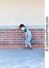 mur, garçon, contre, penchant