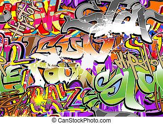 mur, graffiti, fond