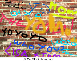 mur, graffitti