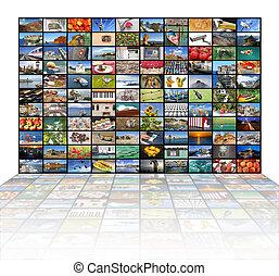 mur, grand écran, vidéo, tv
