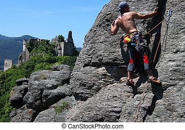 mur, granit, grimpeur, paysage, vue