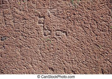 mur, granuleux, grossier, texture, rouges