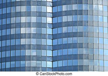 mur, gratte-ciel, détail, architecture, verre