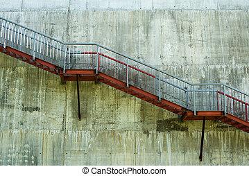 mur, gris, escaliers métal, béton