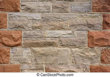 mur, gris, grès, rouges