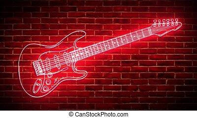 mur, guitare, contre, vidéo, néon