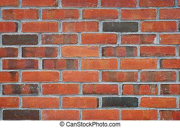 mur, haut fin, brique, rouges, vue