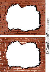 mur, hul, vektor, mursten