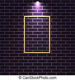 mur, illustration., vecteur, brique, éclairé, cadre