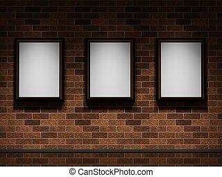 mur, images, brique