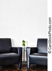 mur, intérieur, blanc, salle moderne