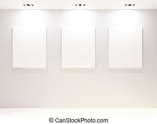 mur, intérieur, cadres, blanc, galerie, vide