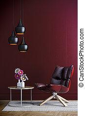 mur, intérieur, chaise, rouges,  3D
