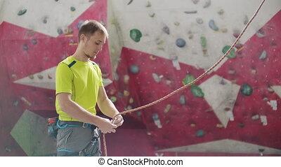 mur, intérieur, tournage, autre, escalade, grimpeur, homme