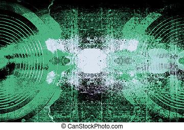 mur, interlocuteurs, audio, grunge, toqué