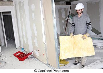 mur, isolation, constructeur, porter