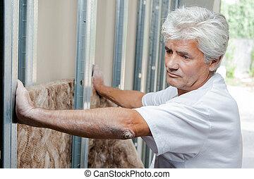 mur, isolation, essayage, maçon