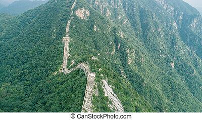 mur, kina, great, aerial udsigt