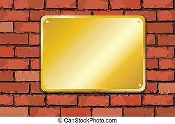 mur, laiton, brique, plaque