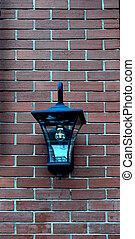 mur, lampe, brique, pendre