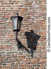 mur, lampe, vieux, brique