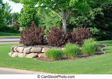 mur, landscaping, arbrisseaux, rocher, retenir, weigela