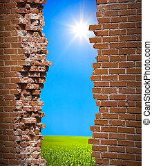mur, liberté, concept, breaken