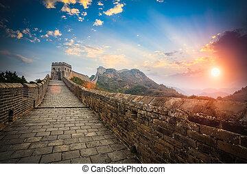 mur, lueur, coucher soleil, grand