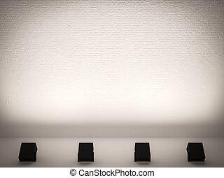 mur, lumière, lampe, exposition, exposition