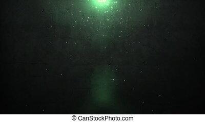 mur, lumière, vieux, vert, éclat