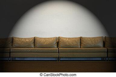 mur, lumières, blanc, divan