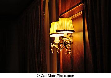 mur, lumières, plafond, monté, deux