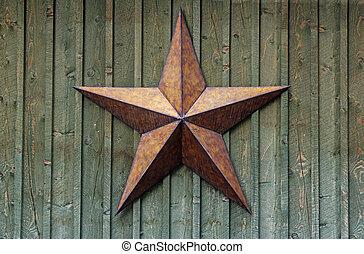 mur, métal, bois, étoile