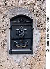 mur, métal, porté, boîte lettres, arrière-plan., vert