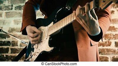 mur, métrage, guitare, bande, defocused, rockabilly, devant, brique, jouer
