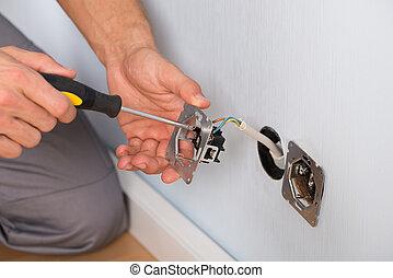 mur, mains, électricien, douille, installation
