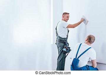 mur, maison, équipage, rénovation, préparer