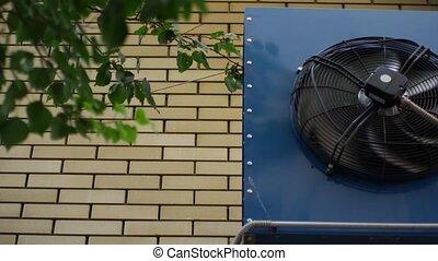 mur, maison, climatisation