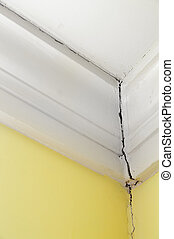 mur, maison, plafond, fissure