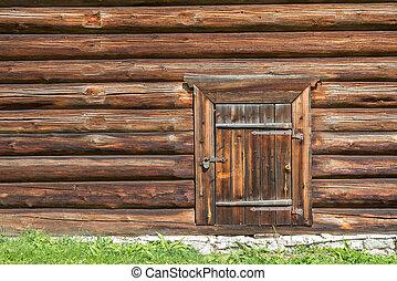 mur, maison, verrouillé, bûche, porte