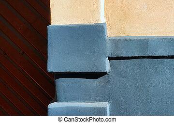 mur, maison, vieux, détail, portail