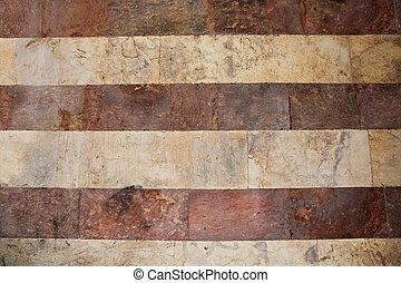 mur, marbre, t, blanc, rayé, rouges