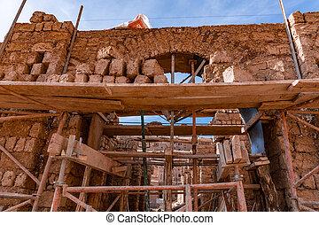 mur, maroc, exposé, soleil, sec, pierres, pavage, fait main, briques, bâtiment, argile