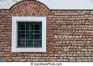 mur, milieu, fenêtre, vert, brique
