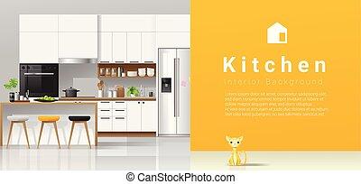 mur, moderne, fond jaune, blanc, cuisine