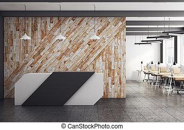 mur, moderne, réception, propre