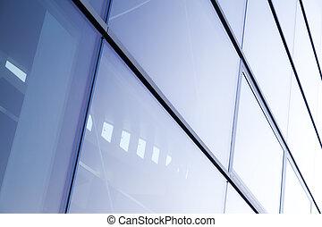 mur, moderne, verre, architecture